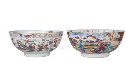 Two Chinese export porcelain punch bowls, 18th century, one painted in the imari palette with floral