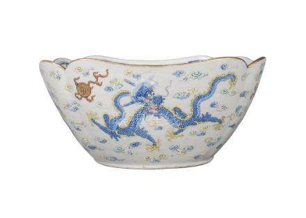 A Chinese porcelain square bowl, late 19th/early 20th century, painted in enamels with four