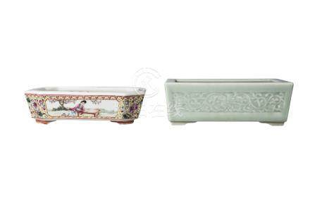 Two Chinese porcelain rectangular jardinieres, 20th century, one celadon glazed and moulded with
