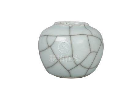 A Chinese porcelain Ge-type water pot, 20th century, of globular form, 7cm high no condition issues