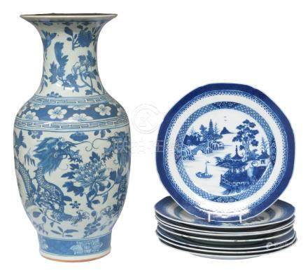 A large collection of Chinese porcelain, 18th-19th century, comprising large circular foot bath,