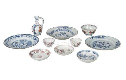 Ten pieces of Chinese export porcelain, 18th-19th century, comprising jug, 14cm high, two teabowls