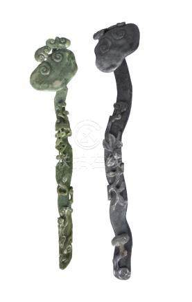 Two Chinese jade 'lingzhi' ruyi-sceptres, late Qing dynasty, one of spinach green tone, carved to