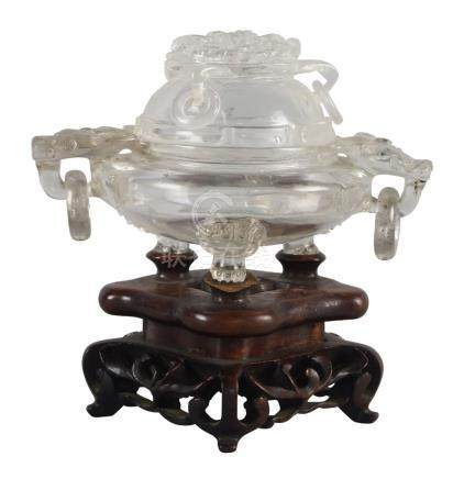 A Chinese rock crystal censer, 19th century, the cover carved with bat finial and three loose ring