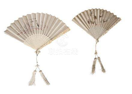 Two similar Chinese Canton ivory and silk embroidered fans, late 19th century, one with guard sticks