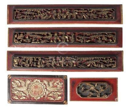 Five Chinese carved and painted wood furniture panels, late 19th/early 20th century, three carved