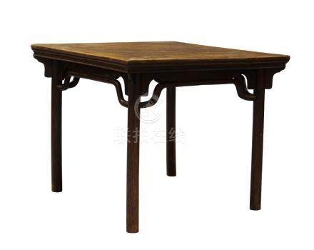 A Chinese elm wood square side table, 18th/19th century, the square top raised on cylindrical legs