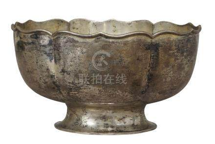 A Chinese export silver 'lotus' footed bowl, early 20th century, moulded as a lotus flower, with