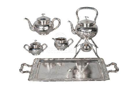 A Chinese export silver five-piece tea set by Zee Wo, comprising tray, 30cm x 57cm, kettle, stand,