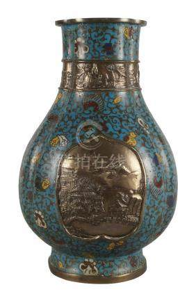 A Chinese champleve enamel pear shaped lobed vase, late 19th century, cast to the body with two