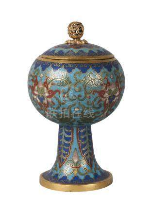 A fine Chinese gilt metal and cloisonné stem cup and cover, Qianlong period, decorated throughout