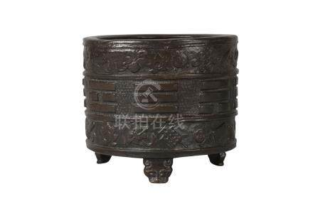 A Chinese bronze 'bagua' censer, Ming dynasty, 16th/17th century, of cylindrical form, cast with the
