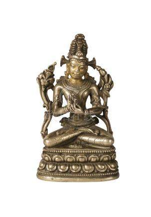 A Sino-Tibetan small gilt-bronze depicting Namasangiti Manjushri, 13th-14th century, seated in