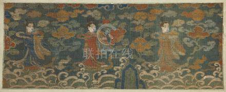 A Chinese kesi silk rectangular fragment, Ming Dynasty, 17th century, depicting three female