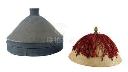 A Chinese Mandarin's summer court conical hat, late 19th century, of woven bamboo, with brass knop