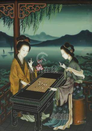 A Chinese reverse painting on glass, 20th century, depicting two ladies playing wei qi, in