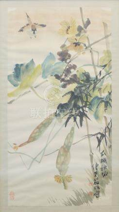 ANONYMOUS, 20th century Chinese School, ink and wash on paper, study of a bird amidst fruiting