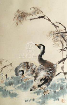 ANONYMOUS, 20th Century Chinese School, ink and colour on paper, study of two ducks, bears seal mark