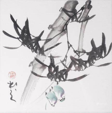 WANG MING FAN (20th century), study of two birds amidst bamboo, ink and colour on paper, seal mark
