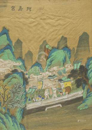 A pair of Chinese paintings on silk, 20th century, one depicting a palace, the other a procession in