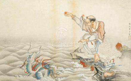 ANONYMOUS, Early 20th century Chinese School, Nantimitolo taming a dragon, ink and colour on