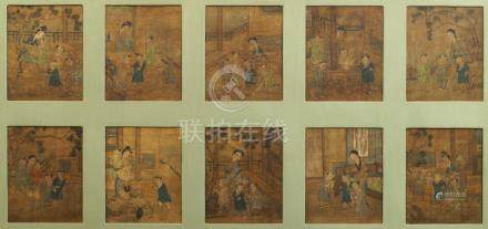 ANONYMOUS, 19th century Chinese School, ink and colour on silk, thirteen studies of children with