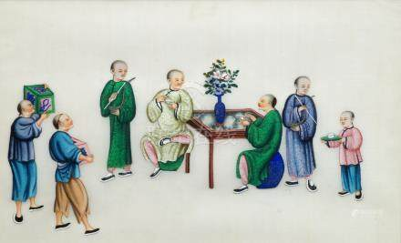 A set of twelve Chinese gouache paintings on rice paper, late Qing dynasty, each depicting a