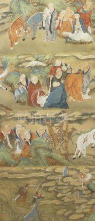 19th Century Chinese School, ink and colour on silk, Eighteen Arhat in a landscape, handscroll,
