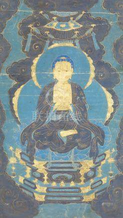 A Chinese painting on canvas, 19th century, depicting Shakyamuni Buddha seated in dhayasana on a