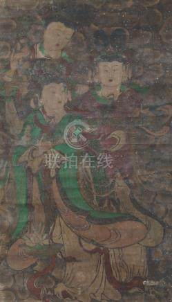 19th century Chinese School, large mixed media on canvas, hanging scroll, study of three celestial