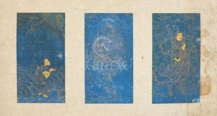18th century Chinese School, three gold ink studies on blue gouache on paper, one a study of Xi