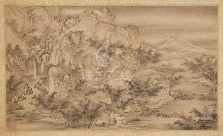 18th century Chinese School, a pair of ink and watercolour on paper, one an expansive mountainous