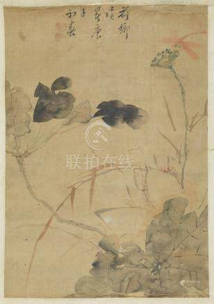 19th century Chinese School, ink and watercolour on silk, hanging scroll, dragonfly and lotus pod,