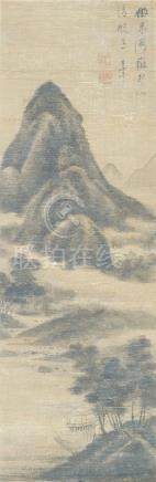 STYLE OF ZHANG RUITU, ink on silk, hanging scroll, mountainous landscape, bears indistinct