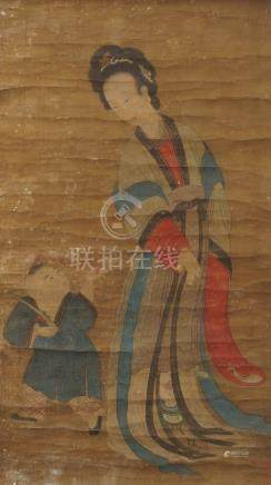ANONYMOUS, 17th/18th century Chinese watercolour on silk, hanging scroll, court lady beside boy