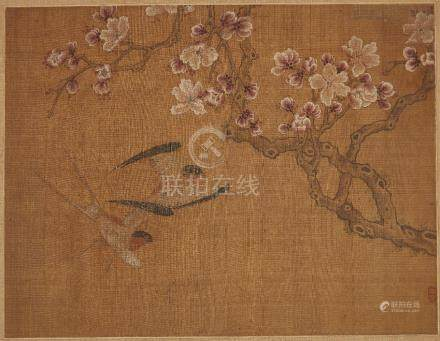 Three Chinese paintings on silk, 18th-19th century, comprising a pair of sparrows and blossoming