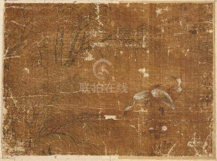 Four Chinese paintings on silk, 17th-19th century, to include a study of a vase of chrysanthemum,