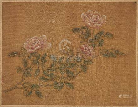 18th century Chinese School, ink and watercolour on silk, study of pink roses, indistinct seal