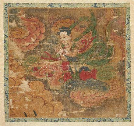 19th century Chinese School, ink and watercolour on silk, Buddha preaching in a shrine to