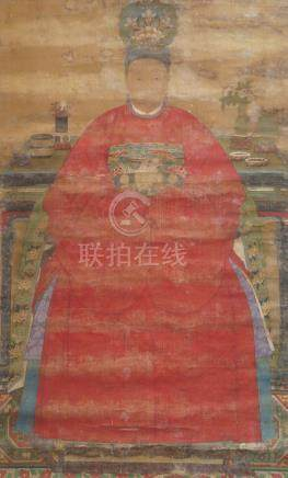 19th century Chinese School, ink and colour on silk, large hanging scroll, study of an Empress,