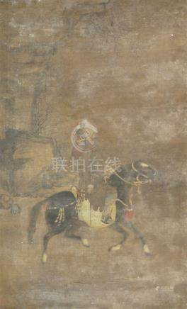 18th century Chinese School, ink and colour on silk, hanging scroll, study of a rider on