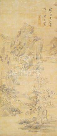 19th century Chinese School, ink and colour on silk, hanging scroll, mountainous landscape,