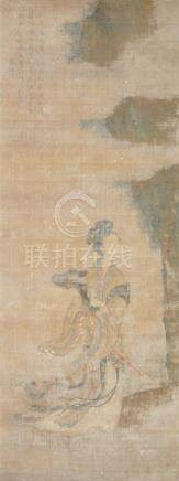 17th century Chinese School, ink and colour on silk, study of a lady of nobility beside a rocky