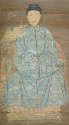 18th century Chinese School, ink and colour on silk, hanging scroll, ancestor portrait of a seated