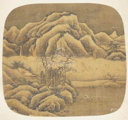 19th century Chinese School, ink and colour on silk, winter landscape scene with figures in a