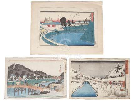 Ando Hiroshige, Japanese, 1797-1858 Shiba Akabane no yuki (Snow at Akabane in Shiba) from the series
