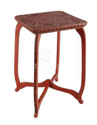 A Japanese cinnabar lacquer table top stand, late 19th century, the square top carved in low