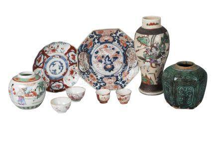 Ten pieces of Oriental pottery, 18th-20th century, comprising a famille rose jar, a famille rose