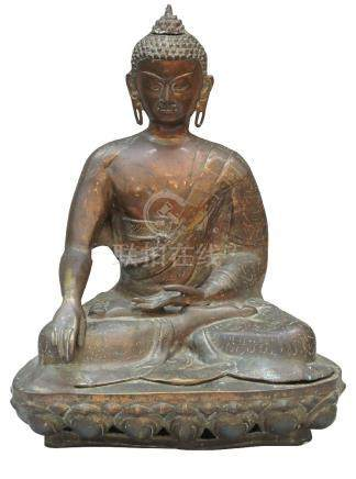 A large Thai copper alloy figure of Buddha, 20th century, seated in dhayasana on a lotus throne,