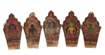 A Sino-Tibetan painted ritual crown (ringga), 14th/15th century, painted with the Five Tathagatas,